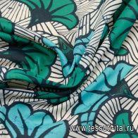 Маркизет (н) черно-бело-зелено-бирюзовый растительный орнамент в стиле Marni - итальянские ткани Тессутидея