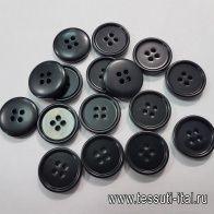 Пуговица пластик 4 прокола d-20мм черная - итальянские ткани Тессутидея