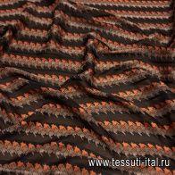 Шифон (н) черно-оранжево-коричневые полосы в стиле MaxMara - итальянские ткани Тессутидея