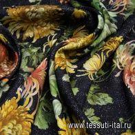 Тафта (н) цветочный орнамент на черном меланже - итальянские ткани Тессутидея