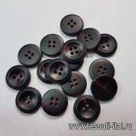 Пуговица пластик 4 прокола d-20мм черная с красными вкраплениями - итальянские ткани Тессутидея