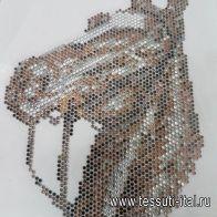 Термоаппликация из страз лошадь 12*18см - итальянские ткани Тессутидея
