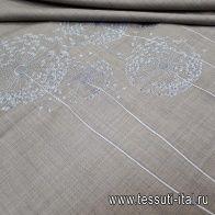 Плательная стрейч с вышивкой (н) одуванчики на бежевом меланже - итальянские ткани Тессутидея арт. 03-5582