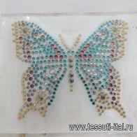 Термоаппликация из страз бабочка 9*8см - итальянские ткани Тессутидея