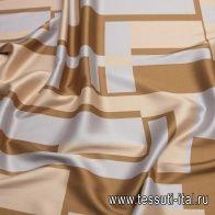 Плательная (н) серо-бежево-коричневый геометрический орнамент в стиле Fendi - итальянские ткани Тессутидея