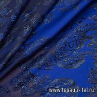 Органза филькупе с люрексом купон (1,75м) (н) сине-черный орнамент на темно-синем - итальянские ткани Тессутидея арт. 03-6430