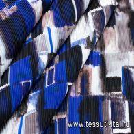Плиссе на клеевой основе (н) черно-бело-синяя геометрическая абстракция - итальянские ткани Тессутидея