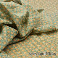 Маркизет (н) оранжевый стилизованный горох на мелкой бело-зеленой клетке - итальянские ткани Тессутидея