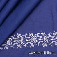 Хлопок (н) белая вышивка на синем - итальянские ткани Тессутидея