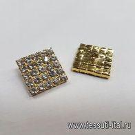 Пуговица металл золото квадратная со стразами d-20мм - итальянские ткани Тессутидея арт. F-5249