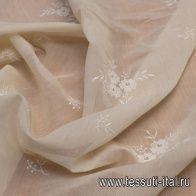 Плательная (н) белая вышивка на светло-бежевом - итальянские ткани Тессутидея