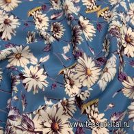 Крепдешин (н) ромашки на синем - итальянские ткани Тессутидея