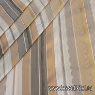 Тафта (н) серо-бело-бежевая полоска - итальянские ткани Тессутидея