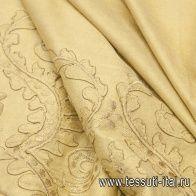 Искусственная замша (о) бежевая с вышивкой - итальянские ткани Тессутидея