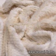 Мех искусственный на трикотажной основе (о) айвори - итальянские ткани Тессутидея