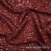 Сетка плательная расшитая пайетками (о) бордовая - итальянские ткани Тессутидея арт. 03-6495