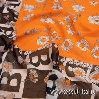"""Шифон Burberry купон (1,45м) (н) буква """"В"""" и цветы на оранжевом - итальянские ткани Тессутидея"""