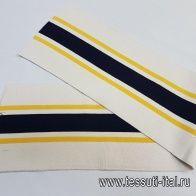 Подвяз 86*19см сине-желтая полоска на бежевом - итальянские ткани Тессутидея