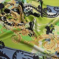Шелк атлас (н) черно-желто-зеленый принт в стиле Versace - итальянские ткани Тессутидея
