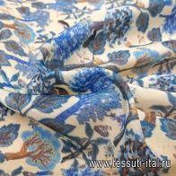 Маркизет (н) растительный орнамент на молочном - итальянские ткани Тессутидея
