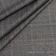 Костюмная (н) черно-бело-коричневая стилизованная клетка - итальянские ткани Тессутидея