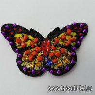Термоаппликация со стразами бабочка - итальянские ткани Тессутидея