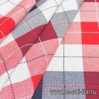 Хлопок костюмный (н) красно-сине-белая клетка - итальянские ткани Тессутидея арт. 01-6714