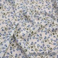 Крепдешин (н) голубые цветы на белом - итальянские ткани Тессутидея