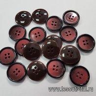 Пуговица пластик 4 прокола d-20мм бордово-черная - итальянские ткани Тессутидея