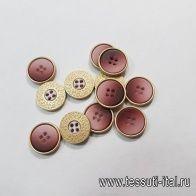 Пуговица комбинированная 4 прокола d-15мм розово-золотая - итальянские ткани Тессутидея арт. F-5367