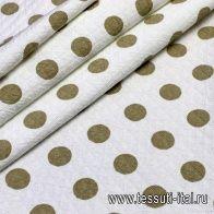 Жаккард (н) бежевый горох на белом - итальянские ткани Тессутидея