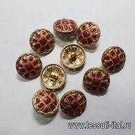 Пуговица на ножке металл золото с малиновыми камнями d-18мм  - итальянские ткани Тессутидея арт. F-5151