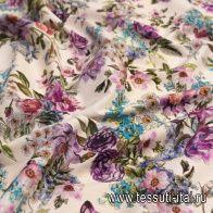 Хлопок стрейч (н) цветочный орнамент на светло-бежевом - итальянские ткани Тессутидея