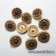 Пуговица на ножке металл золото со стразами и черными камнями d-22мм  - итальянские ткани Тессутидея арт. F-5158