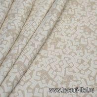 Жаккард (н) бежево-белый принт - итальянские ткани Тессутидея