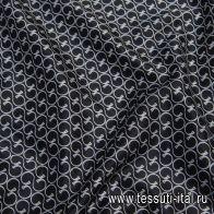 Подкладочная (н) белый логотип Cucci на черном - итальянские ткани Тессутидея арт. 08-1162