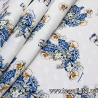 Жаккард (н) цветы и бабочки на белом в стиле Monnalisa - итальянские ткани Тессутидея
