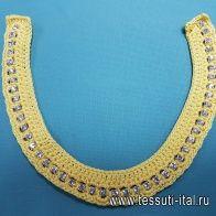 Декоративный пришивной элемент со стразами желтый ворот  30см - итальянские ткани Тессутидея
