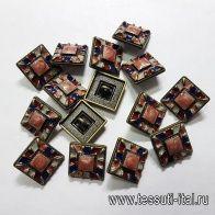 Пуговица квадратная на ножке металл бронза мозайка d-18мм  - итальянские ткани Тессутидея арт. F-5161
