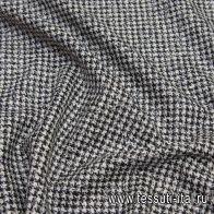 Костюмная с люрексом (н) черно-бело-серебряная гусиная лапка - итальянские ткани Тессутидея арт. 05-4070