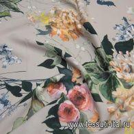 Плательная вискоза стрейч (н) крупный цветочный рисунок на бежевом - итальянские ткани Тессутидея арт. 04-1402
