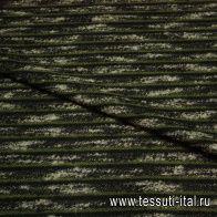 Трикотаж фактурный (н) черно-бежево-зеленый меланж  - итальянские ткани Тессутидея арт. 13-1073
