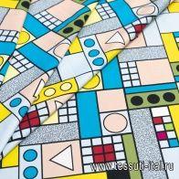 Хлопок стрейч (н) яркая геометрическая абстракция - итальянские ткани Тессутидея