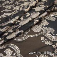 Органза филькупе с люрексом купон (1,75м) (н) бежевый орнамент на черном - итальянские ткани Тессутидея арт. 03-6427