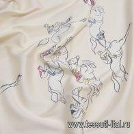 Шелк твил (н) лошади с наездниками на молочном - итальянские ткани Тессутидея арт. 10-2211