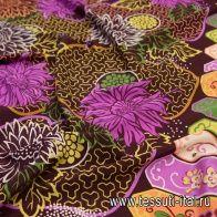 Крепдешин купон (1,25м) (н) яркий цветочный рисунок на темно-сливовом в стиле Valentino - итальянские ткани Тессутидея