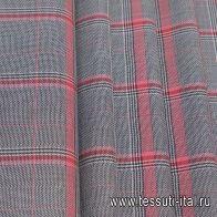 Костюмная стрейч (н) черно-бело-красная меланжевая клетка - итальянские ткани Тессутидея арт. 05-4065