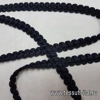 Тесьма фактурная черная ш-1,3см - итальянские ткани Тессутидея