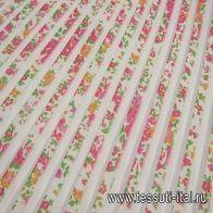 Плиссе (н) розовый цветочный орнамент на белом - итальянские ткани Тессутидея