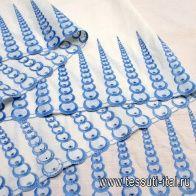 Шитье (н) голубая вышивка на айвори ш-80см - итальянские ткани Тессутидея
